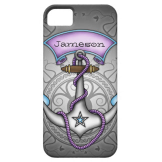 Sailor Jerry Tattoo Anchor Purple Personalize iPhone 5 Cases