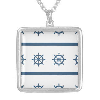 Sailor Marine Medium Silver Plated Square Necklace
