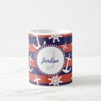 Sailor Nautical navy blue and red stripes monogram Coffee Mug