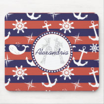 Sailor Nautical navy blue and red stripes monogram Mouse Pad