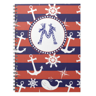 Sailor Nautical navy blue and red stripes monogram Spiral Notebook