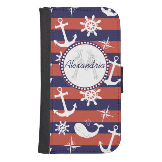 Sailor Nautical navy blue and red stripes monogram Wallet Phone Case For Samsung Galaxy S4