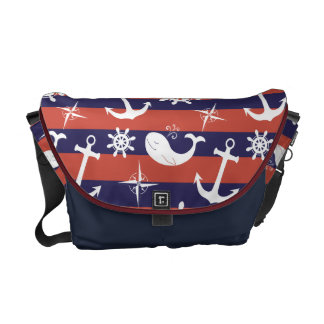Sailor Nautical navy blue and red stripes pattern Courier Bag