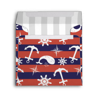 Sailor Nautical navy blue and red stripes pattern Envelope