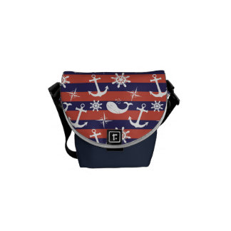 Sailor Nautical navy blue and red stripes pattern Messenger Bag