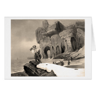 Sailor on a rock, scanning the horizon greeting card