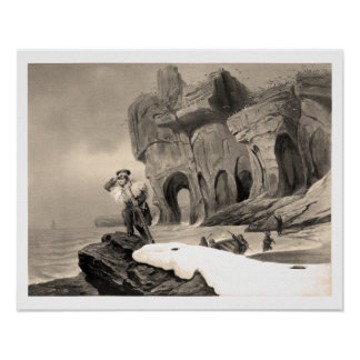 Sailor on a rock, scanning the horizon poster
