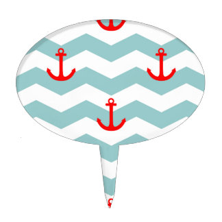 Sailor or nautical pattern on white and blue strip cake topper