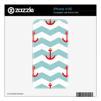 Sailor or nautical pattern on white and blue strip iPhone 4 skin