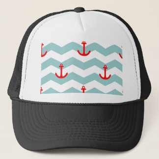 Sailor or nautical pattern on white and blue strip trucker hat