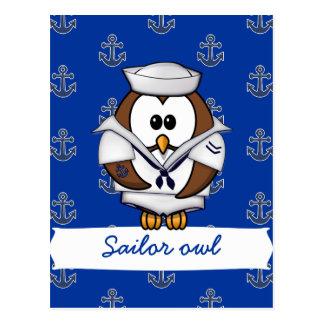 sailor owl postcard