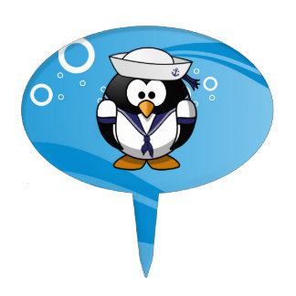 Sailor Penguin Water Background Cake Topper