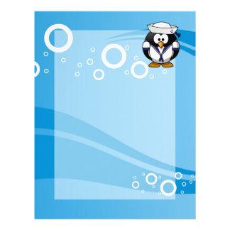 Sailor Penguin Water Background Letterhead
