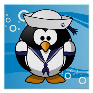 Sailor Penguin Water Background Poster