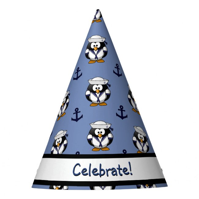 Sailor Penguin with Anchors Bib