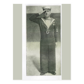 Sailor saluting after receiving medals postcard