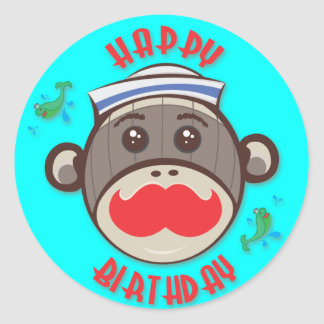 Sailor Sock Monkey Happy Birthday Stickers