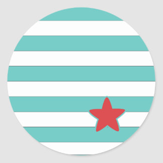 Sailor Star Style Stripes Classic Round Sticker