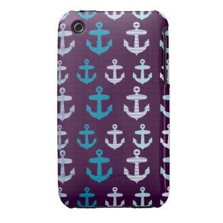 Sailor Stripe and Anchor Design - Purple / Blue iPhone 3 Case-Mate Case