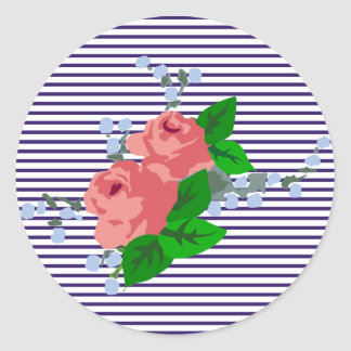 sailor stripes and roses classic round sticker