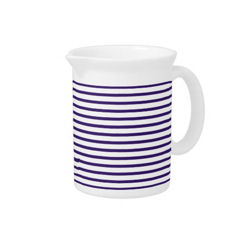 Sailor Stripes - Navy Blue and White Beverage Pitchers