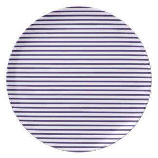 Sailor Stripes - Navy Blue and White Dinner Plate