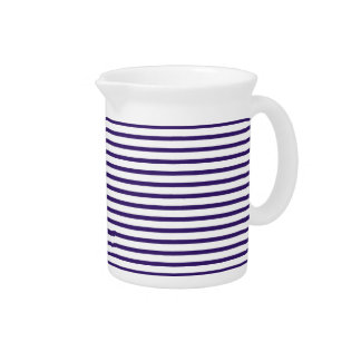 Sailor Stripes - Navy Blue and White Drink Pitcher