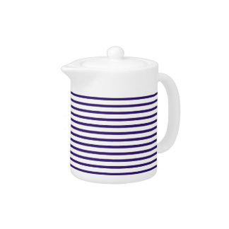 Sailor Stripes - Navy Blue and White Teapot