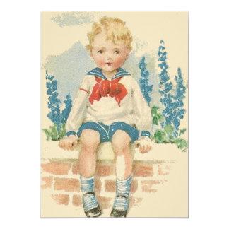 Sailor Suit Boy Birthday Party Invitation