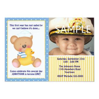 Sailor Teddy Bear First Birthday Photo 5x7 Paper Invitation Card