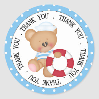 Sailor Teddy Bear with Life Preserver Thank You Classic Round Sticker