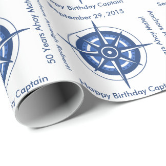 Sailor's 50th Birthday Customizable Nautical Wrapping Paper
