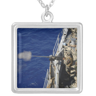 Sailors aboard USS Fort McHenry Silver Plated Necklace