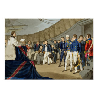 Sailors at Prayer on Board Lord Nelson's Ship Poster