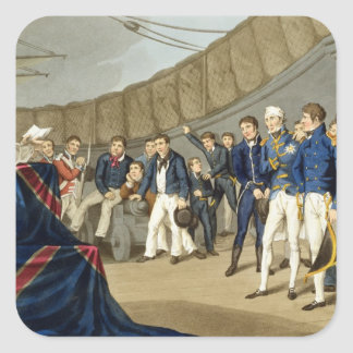 Sailors at Prayer on Board Lord Nelson's Ship Square Sticker