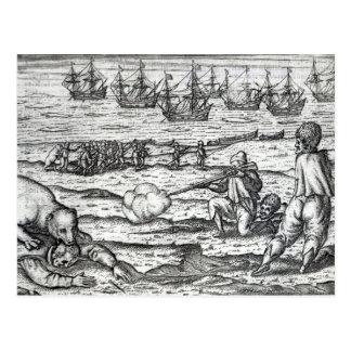Sailors attacked by polar bears postcard