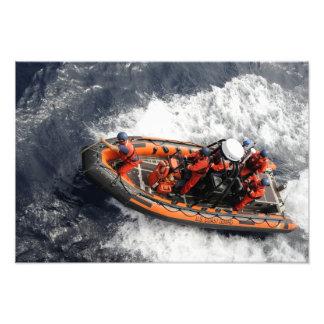 Sailors conducting small boat training photo print