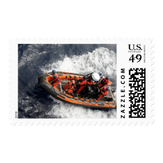 Sailors conducting small boat training postage stamps
