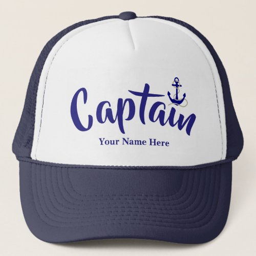 Sailors custom boat name nautical anchor captains trucker hat