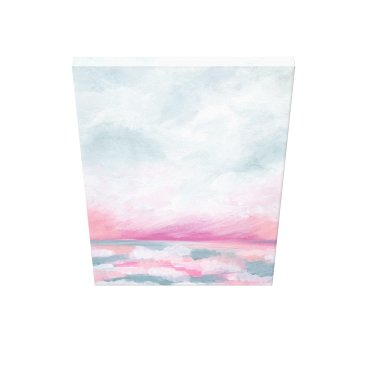 Beach Themed Sailors Delight - Pink and Gray Ocean Painting Canvas Print