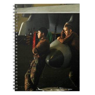 Sailors Deployed in Hangar Bay Notebooks