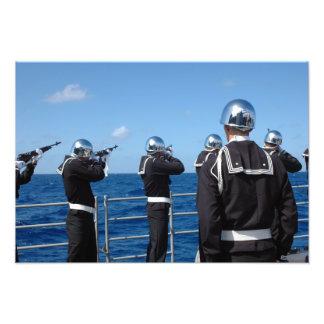 Sailors fire a gun salute during a burial-at-se photo print