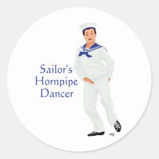 Sailors Hornpipe Highland Dancer Round Sticker