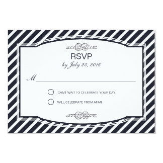 "Sailor's Knot Navy Wedding RSVP Cards 3.5"" X 5"" Invitation Card"