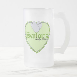 Sailor's Lucky Charm Frosted Glass Beer Mug