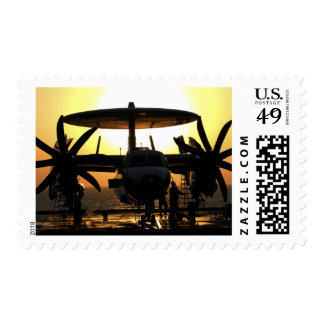 Sailors work on an E-2C Hawkeye aircraft Postage Stamp