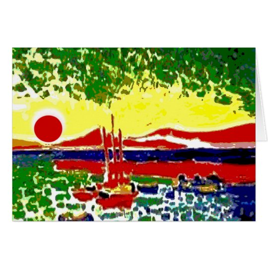Sails and Beach Sunset Card