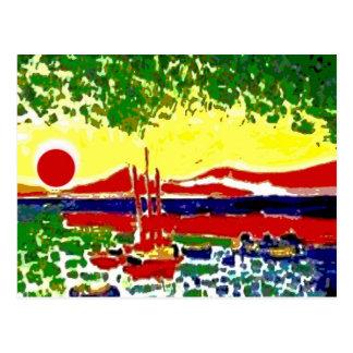 Sails and Beach Sunset Postcard