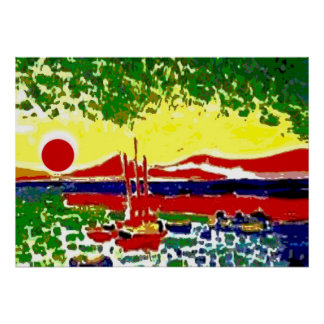 Sails and Beach Sunset Poster