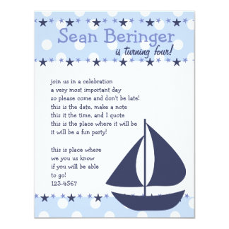 Sails and Stars 4.25x5.5 Paper Invitation Card